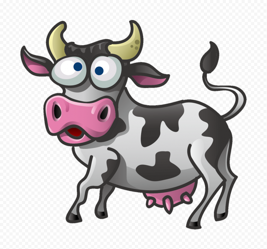 HD Confused Cartoon Cow Character PNG