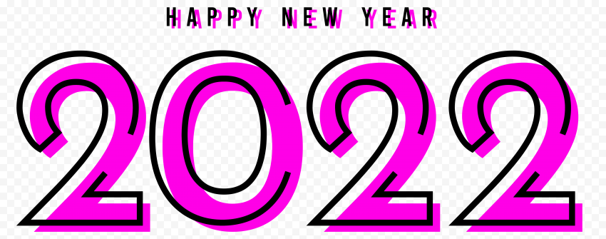 HD Creative Pink & Black Happy New Year 2022 PNG