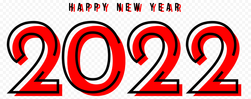 HD Creative Red & Black Happy New Year 2022 PNG