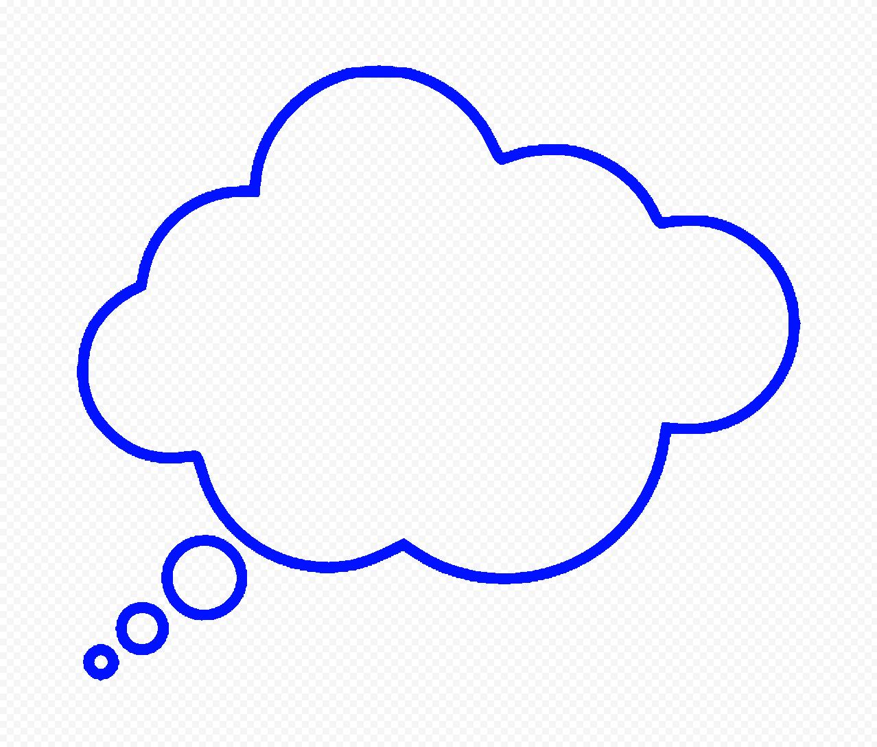 HD Dark Blue Outline Thinking Speech Cloud PNG
