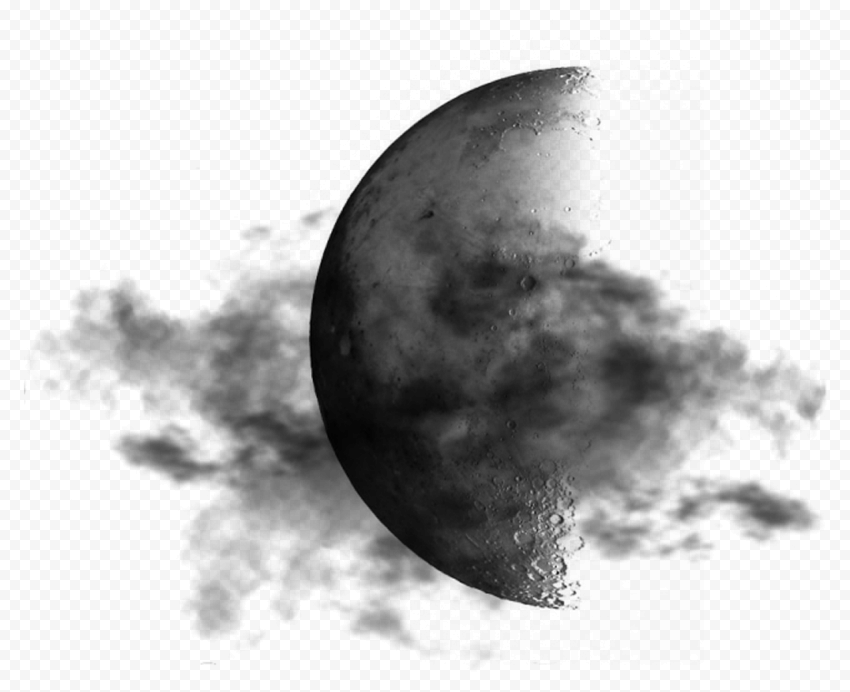 HD Dark Moon With Black Clouds PNG