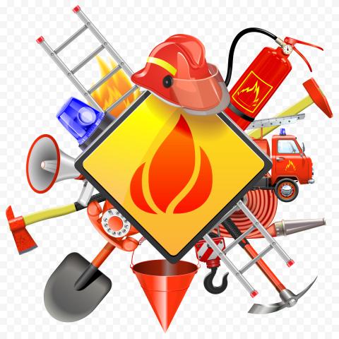 HD Firefighter Equipment Illustration Logo PNG