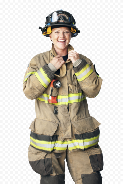 HD Firefighter Firewoman Smiling PNG