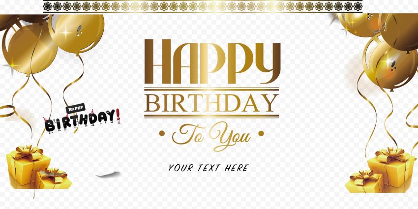 HD Gold Happy Birthday Greeting Card Wish PNG