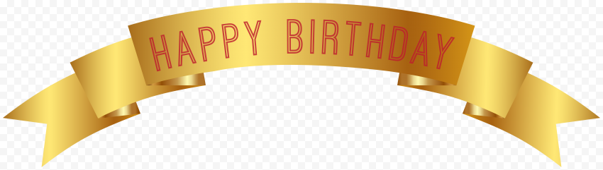 HD Gold Happy Birthday Ribbon Banner PNG