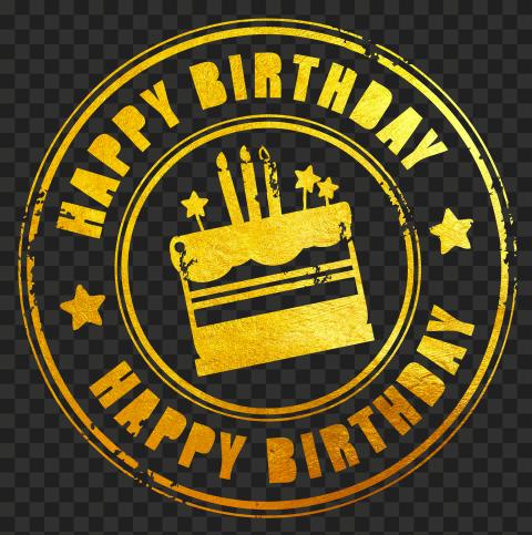 HD Gold Happy Birthday Round Stamp PNG