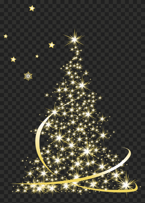 HD Golden Sparkle Christmas Tree PNG