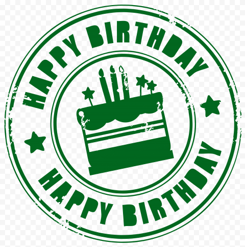 HD Green Happy Birthday Round Stamp PNG
