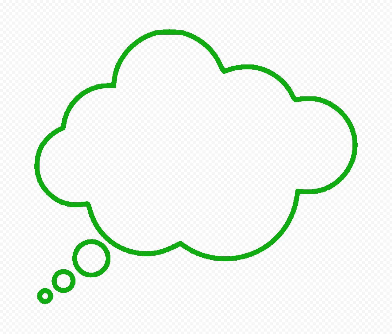 HD Green Outline Thinking Speech Cloud PNG