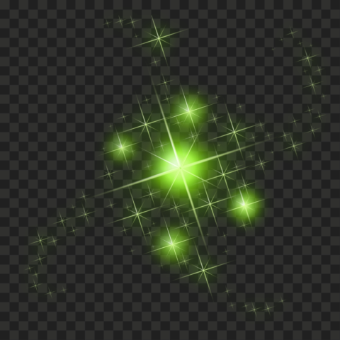 HD Green Sparkle Effect Stars PNG