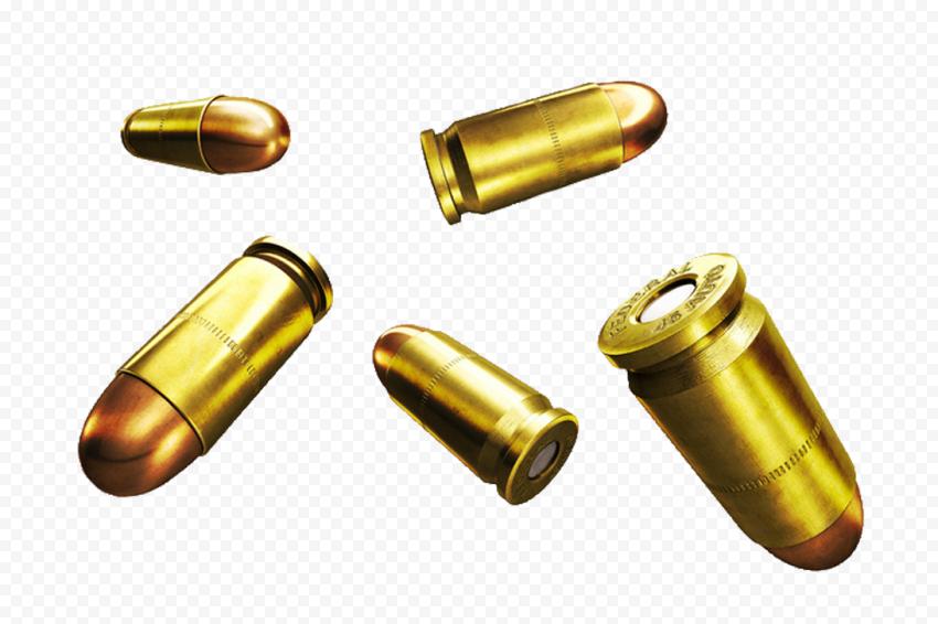 HD Gun Falling Real Bullets Transparent Background