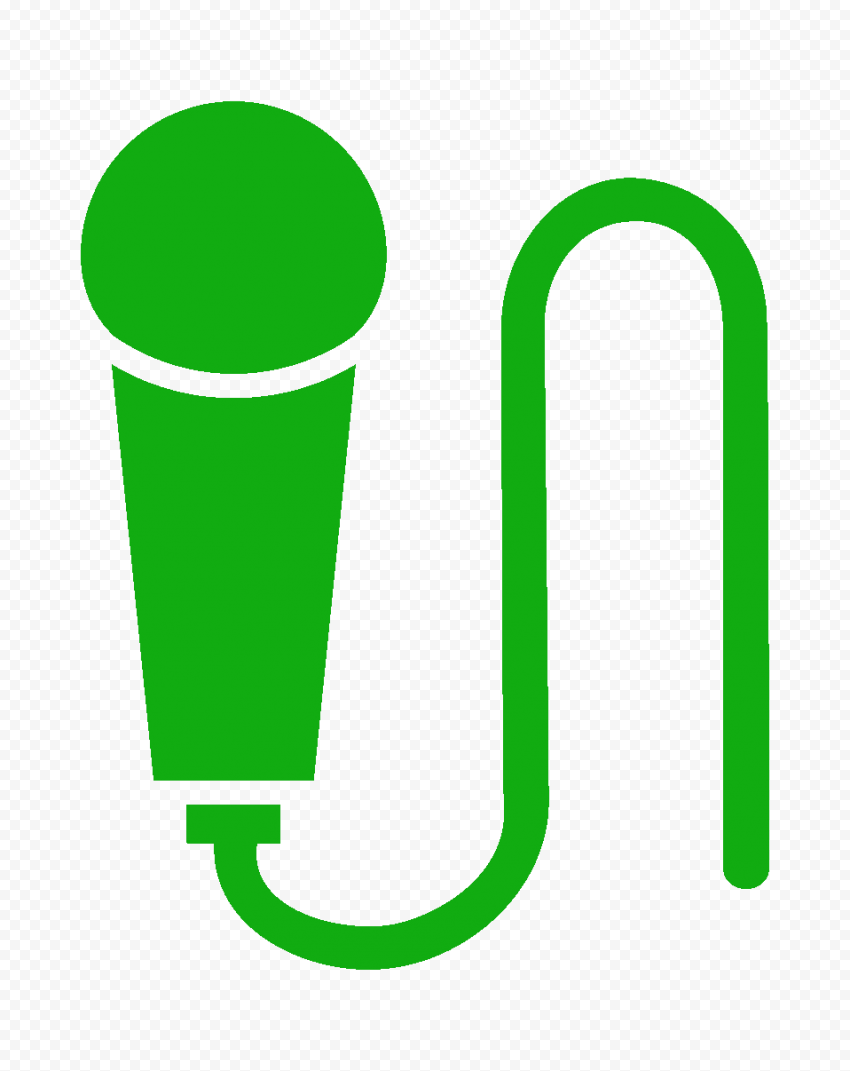 HD Hand Microphone Mic Green Icon PNG