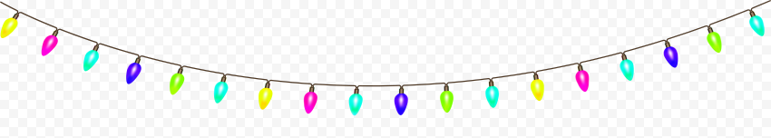 HD Hanging String Colored Light Bulbs Decoration PNG