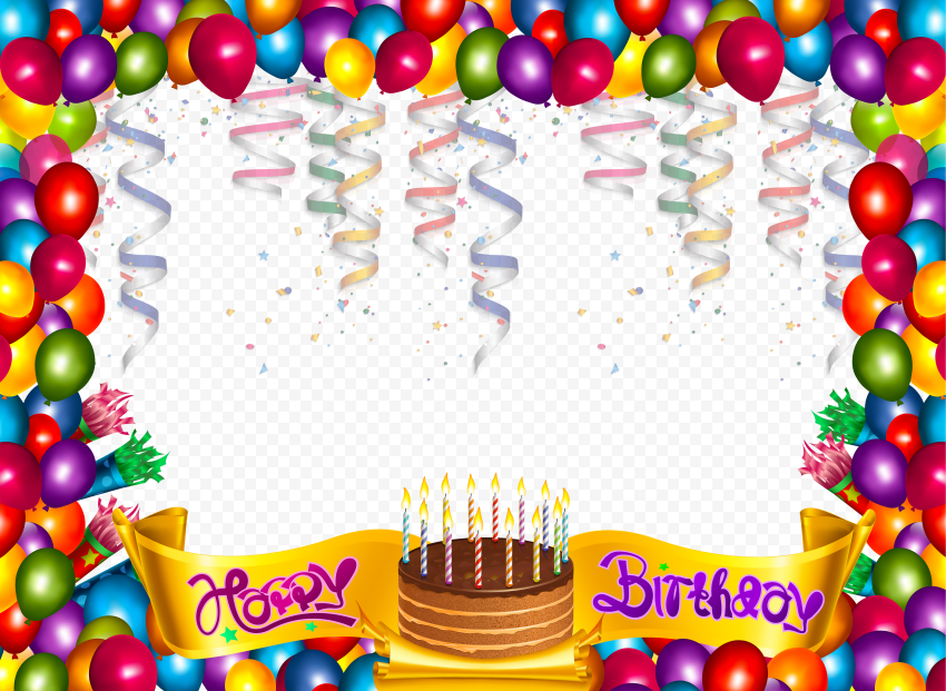 HD Happy Birthday Balloons Frame Template PNG