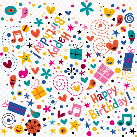 HD Happy Birthday Pattern Background PNG