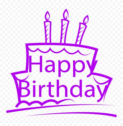 HD Happy Birthday Purple Logo PNG