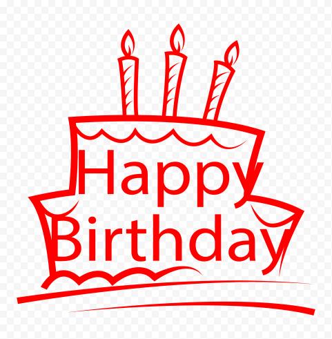 HD Happy Birthday Red Logo Transparent Background