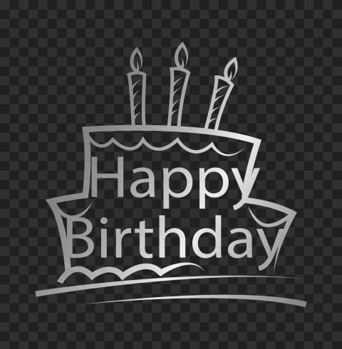 HD Happy Birthday Silver Grey Logo Transparent PNG