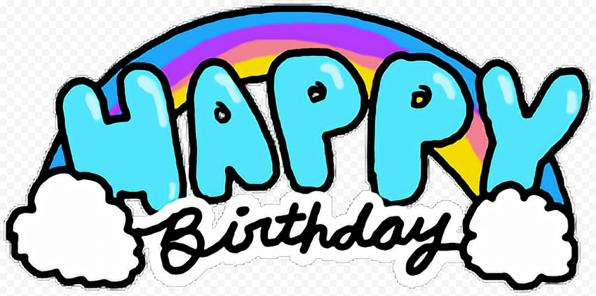 HD Happy Birthday Text Words Comic Cartoon Style PNG
