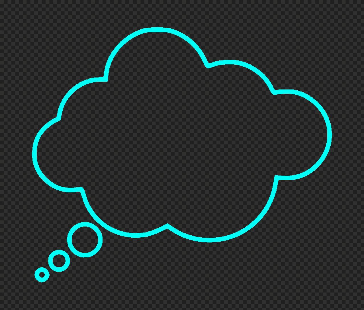 HD Light Blue Outline Thinking Speech Cloud PNG
