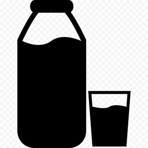 HD Milk Bottle With Glass Silhouette Icon PNG