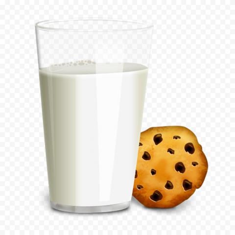 HD Milk Glass Biscuit Cookies Breakfast Illustration PNG