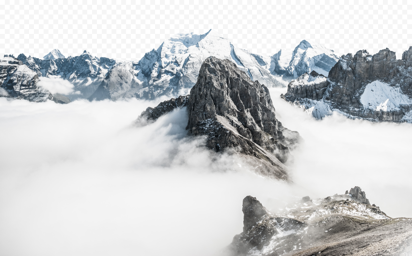 HD Mountain Snow Fog With Clouds Background PNG