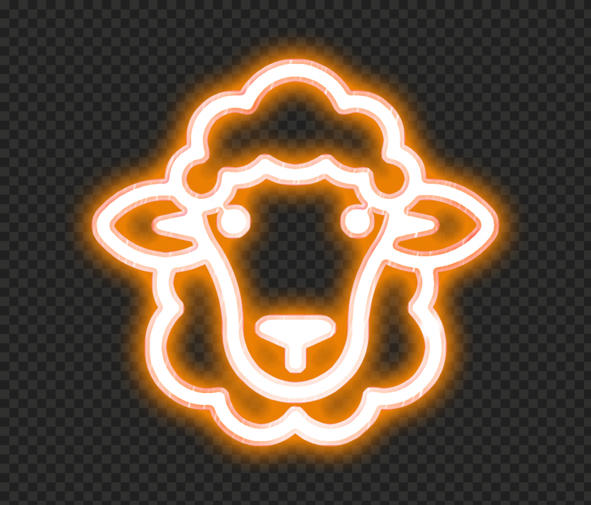 HD Orange Glowing Neon Sheep Head Face Icon PNG