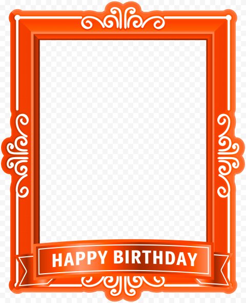 HD Orange Happy Birthday Poster Frame Transparent PNG