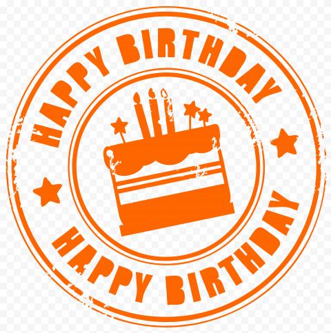 HD Orange Happy Birthday Round Stamp PNG