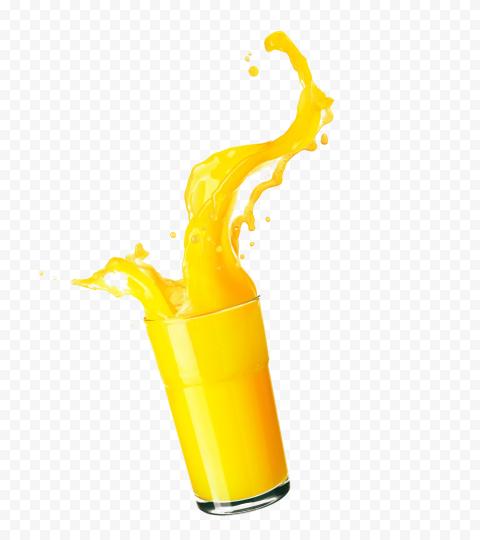 HD Orange Juice Glass Cup Liquid Splash PNG