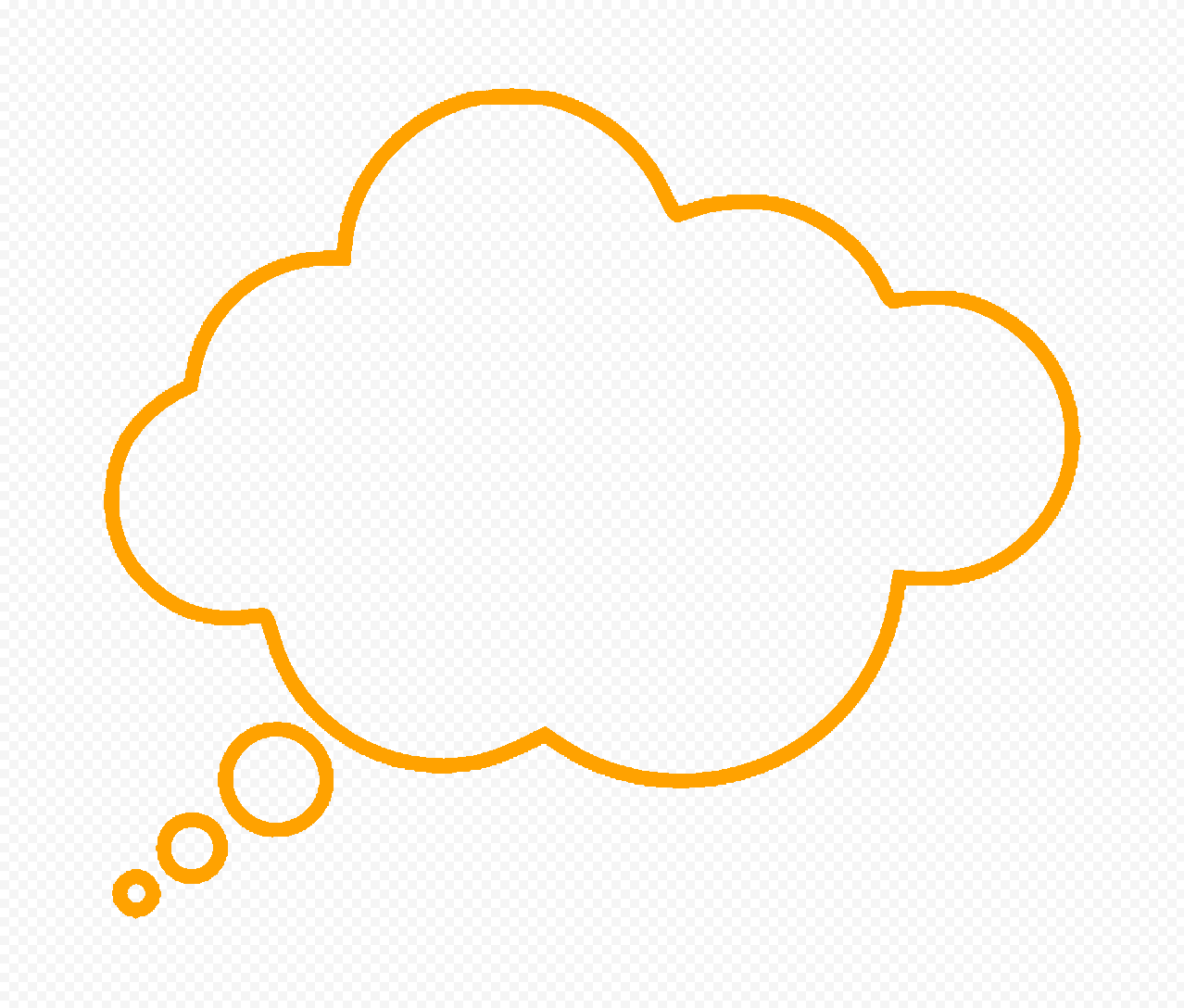 HD Orange Outline Thinking Speech Cloud PNG