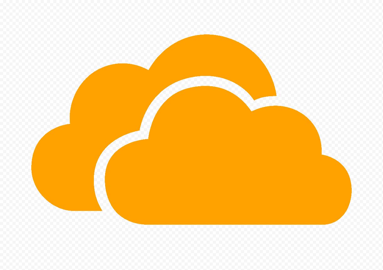 HD Orange Storage Host Clouds Icon PNG