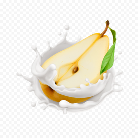 HD Pear Fruit With Milk Splash Drops PNG