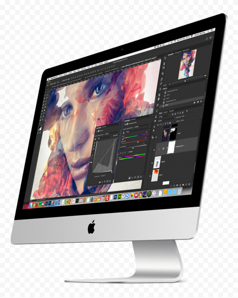 HD Photoshop Opened On iMac Screen PNG
