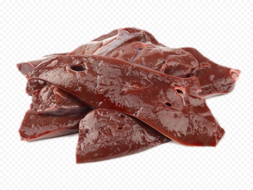 HD Pieces Of Fresh Raw Liver Beef Meat PNG