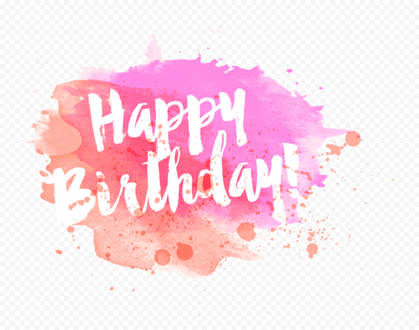 HD Pink Happy Birthday Watercolor Aesthetic Logo PNG