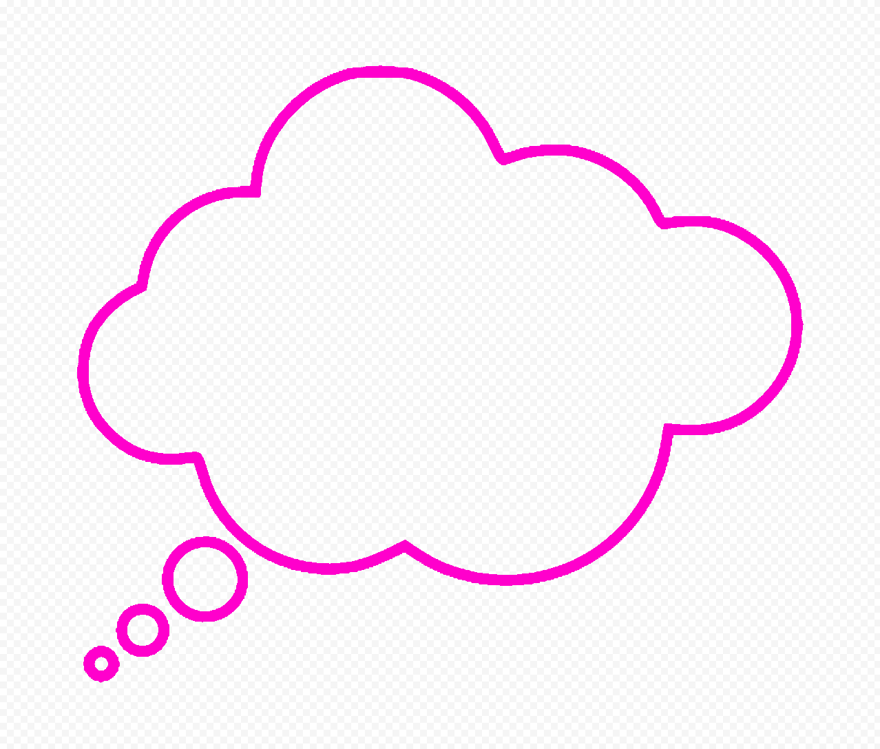 HD Pink Outline Thinking Speech Cloud PNG