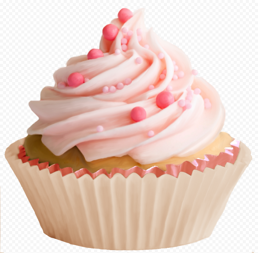 HD Pink Wedding Cupcake With Icing PNG