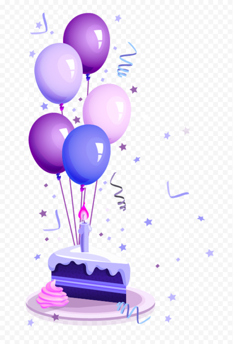 HD Purple Cute Birthday Cake Confetti And Balloons Illustration PNG
