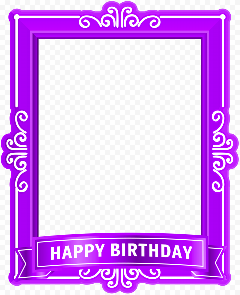 HD Purple Happy Birthday Poster Frame PNG