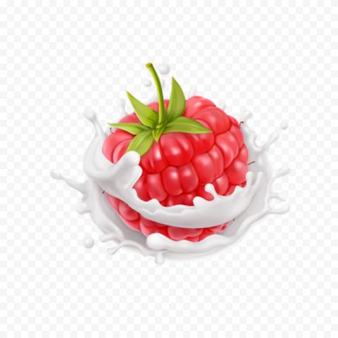 HD Raspberry Fruit With Milk Splash Drops PNG