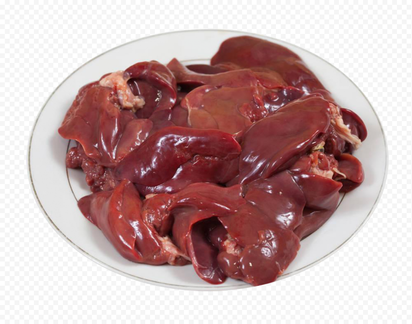 HD Raw Chicken Liver Plate PNG