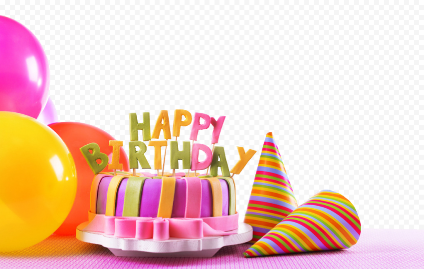 HD Real Birthday Celebration Cake Hats Balloons PNG