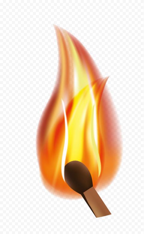 HD Realistic Burning Match Illustration PNG