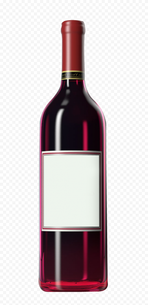 HD Realistic Red Glass Wine Bottle PNG