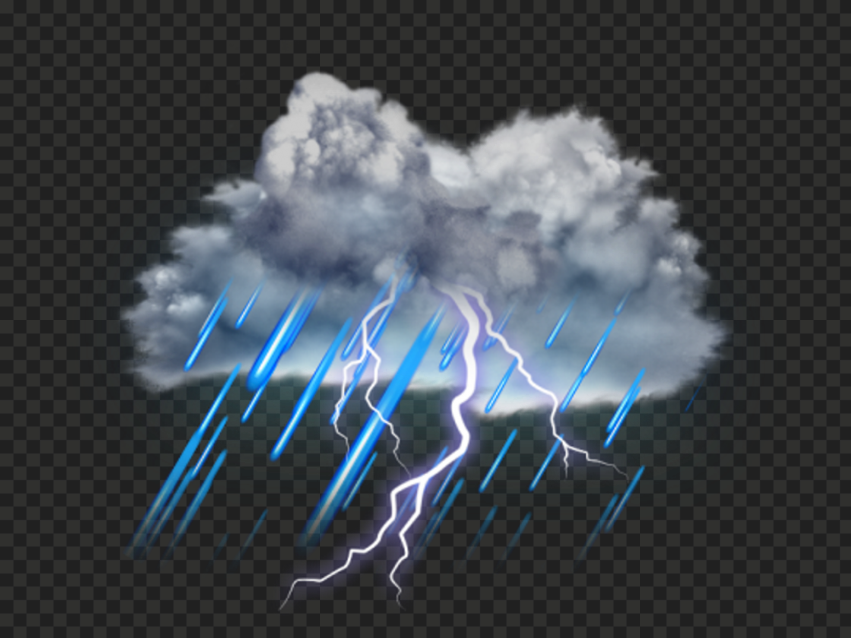 HD Realistic Thunderstorm Rainy Cloud Lightning PNG