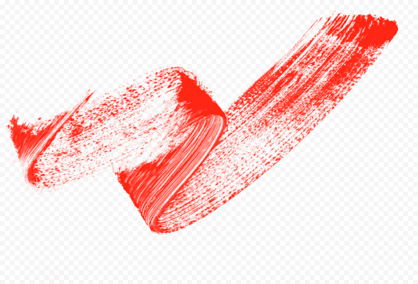 HD Red Brush Stroke Grunge Curved Line PNG
