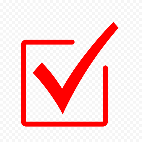 HD Red Checkbox Check Mark Icon Symbol Sign PNG