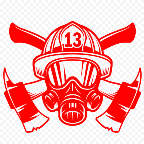 HD Red Fireman Firefighter Mask With Axe Logo PNG